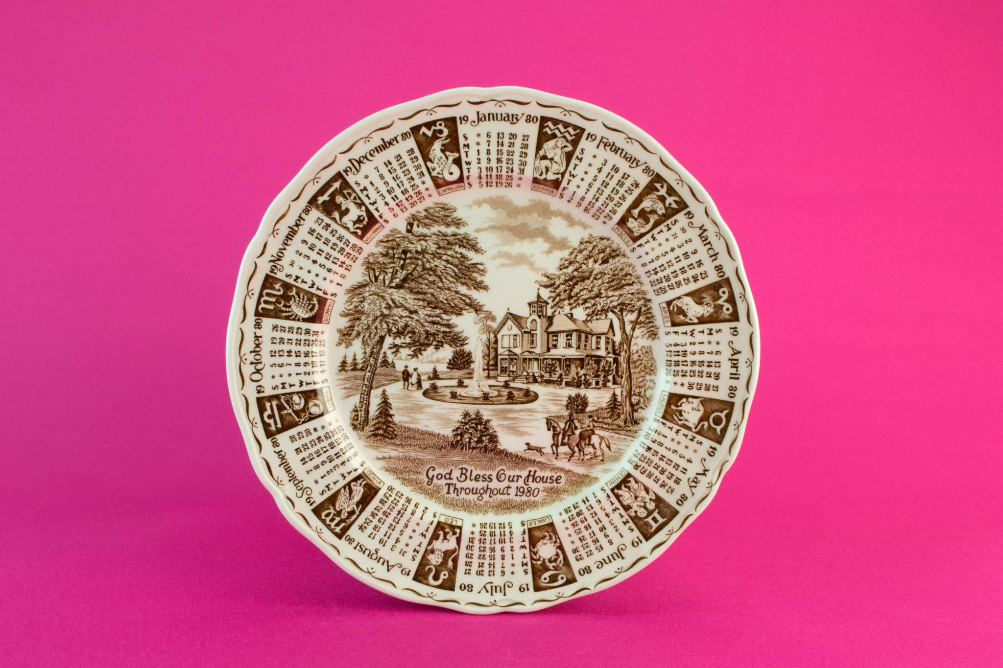 Decorative calendar plate, 1980
