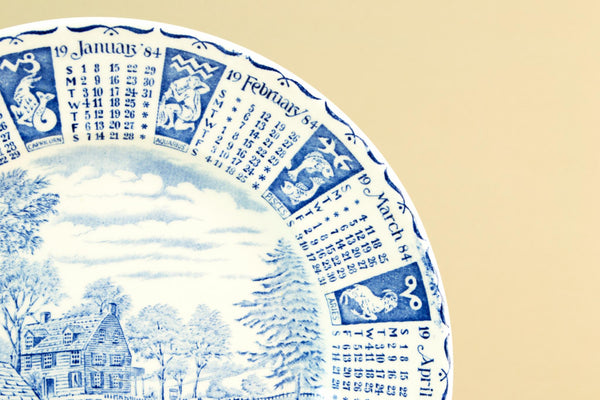 Decorative calendar plate, 1984