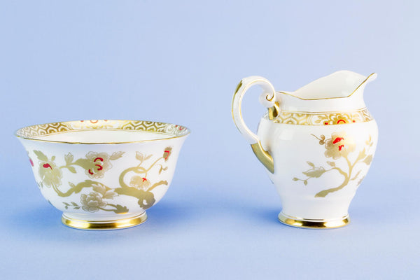 Milk & sugar set in gold bone china, 1950s