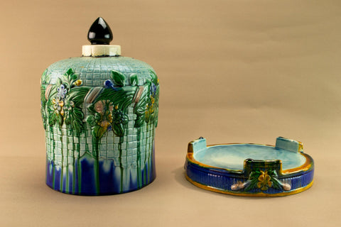 Large majolica cheese platter, early 1900s