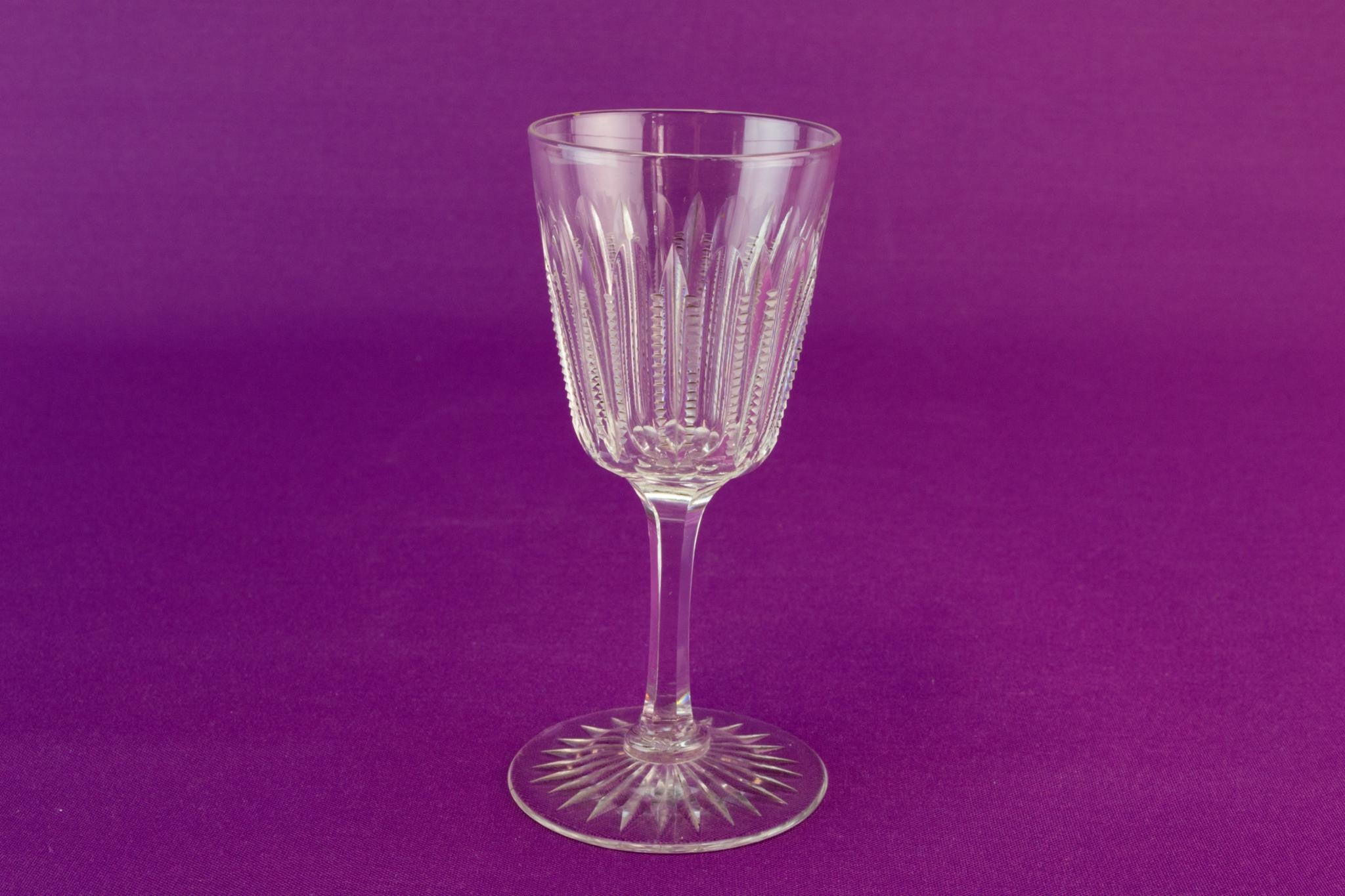 6 ripple cut port glasses, circa 1910