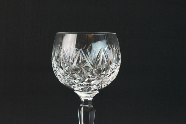 6 cut wine stem glasses