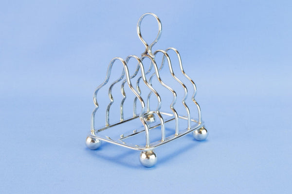 Sterling silver small toast rack, 1909