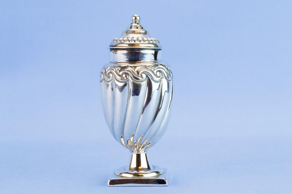 Sterling silver gadrooned sugar caster, 1895