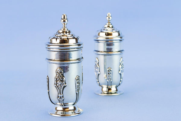 Art Nouveau sterling silver salt and pepper set, 1909