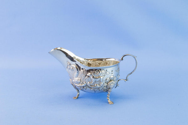 Engraved Sterling Silver gravy boat, 1906