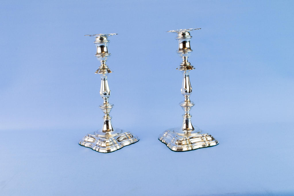Sterling silver candlesticks, English 1906
