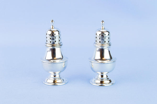 Silver salt and pepper set, English 1898