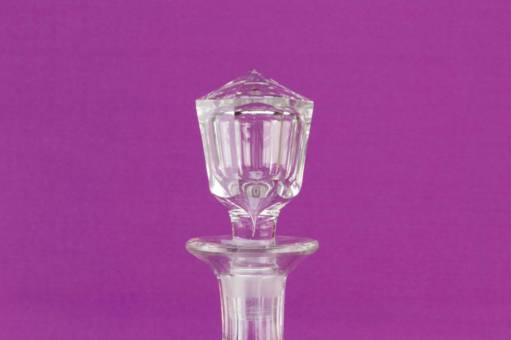 Cut glass barrel decanter, English mid 19th C