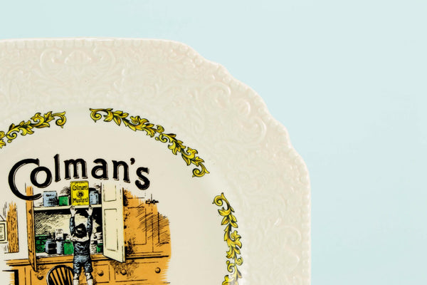 Novelty serving plate Colman's Mustard, English 1970s