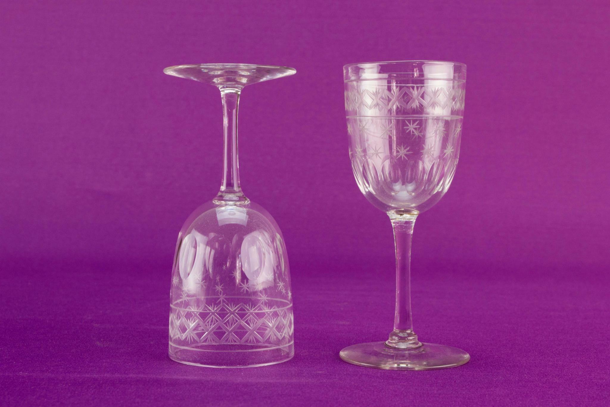 2 port or sherry glasses, English 1920s