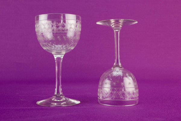 2 dessert wine glasses, English 1920s