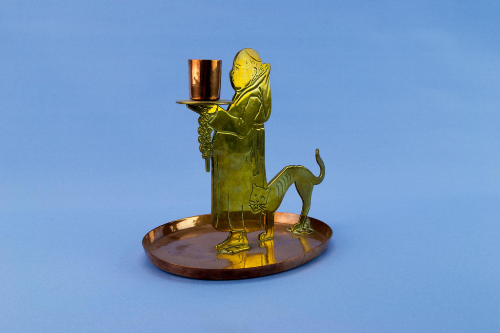 WMF Friar & cat candlestick, German circa 1900
