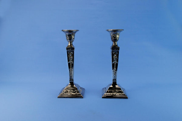 Silver plated Neo-Classical candlesticks, English early 1800s