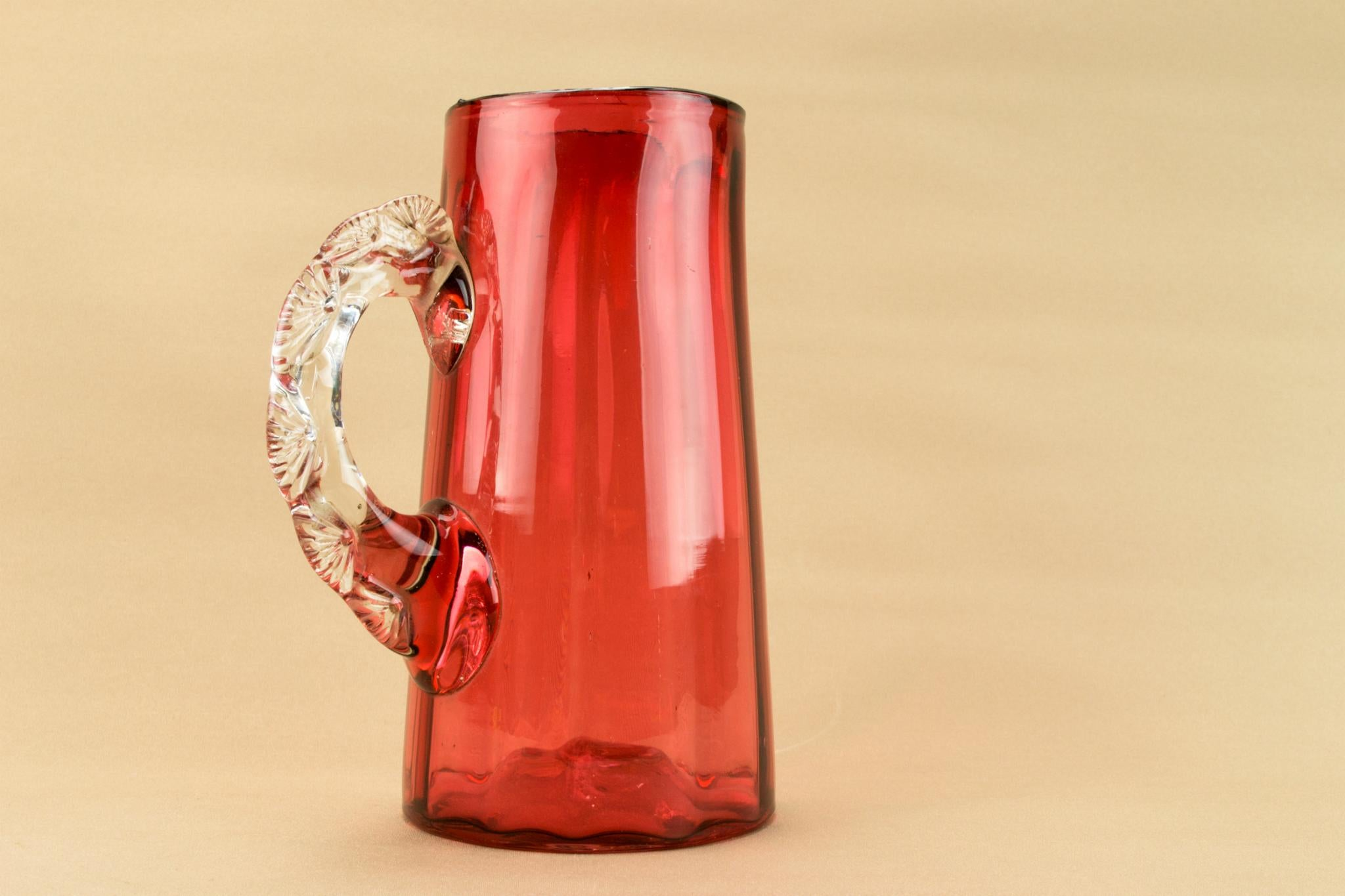 Cranberry red glass jug, English late 19th century