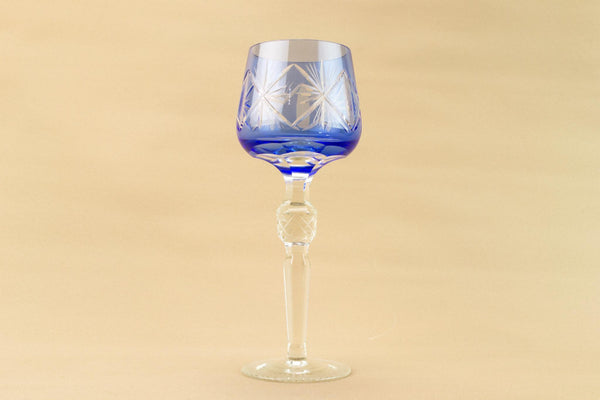4 tall wine glasses in blue