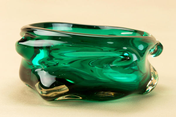 Whitefriars green glass bowl, English 1960s