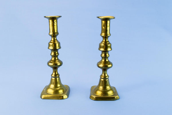 Pair of Rustic Brass Candlesticks, English 19th Century