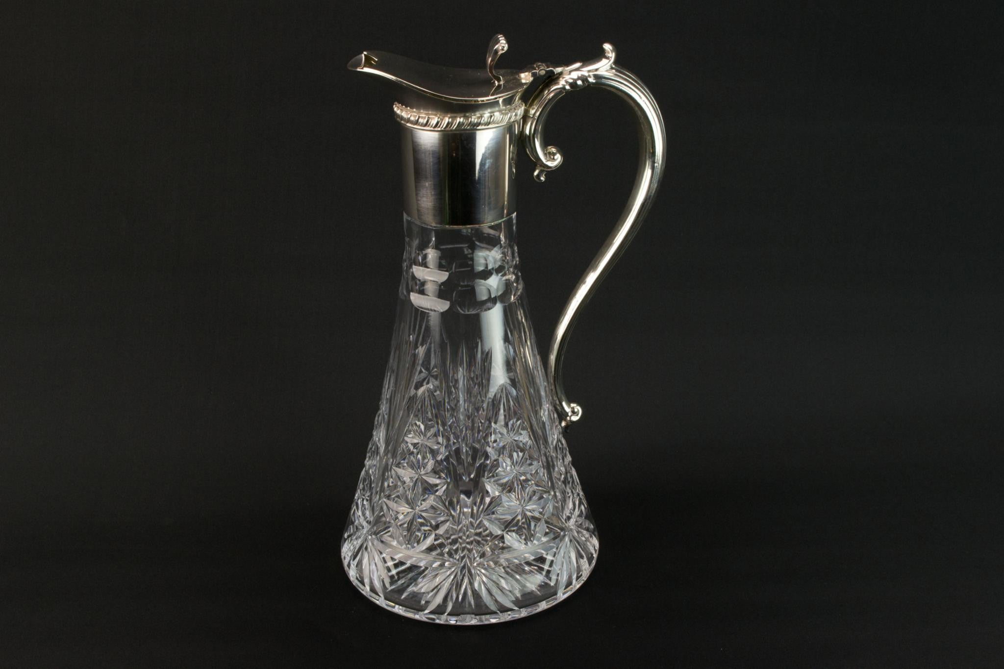 Cut glass & silver plated wine carafe, English 1930s