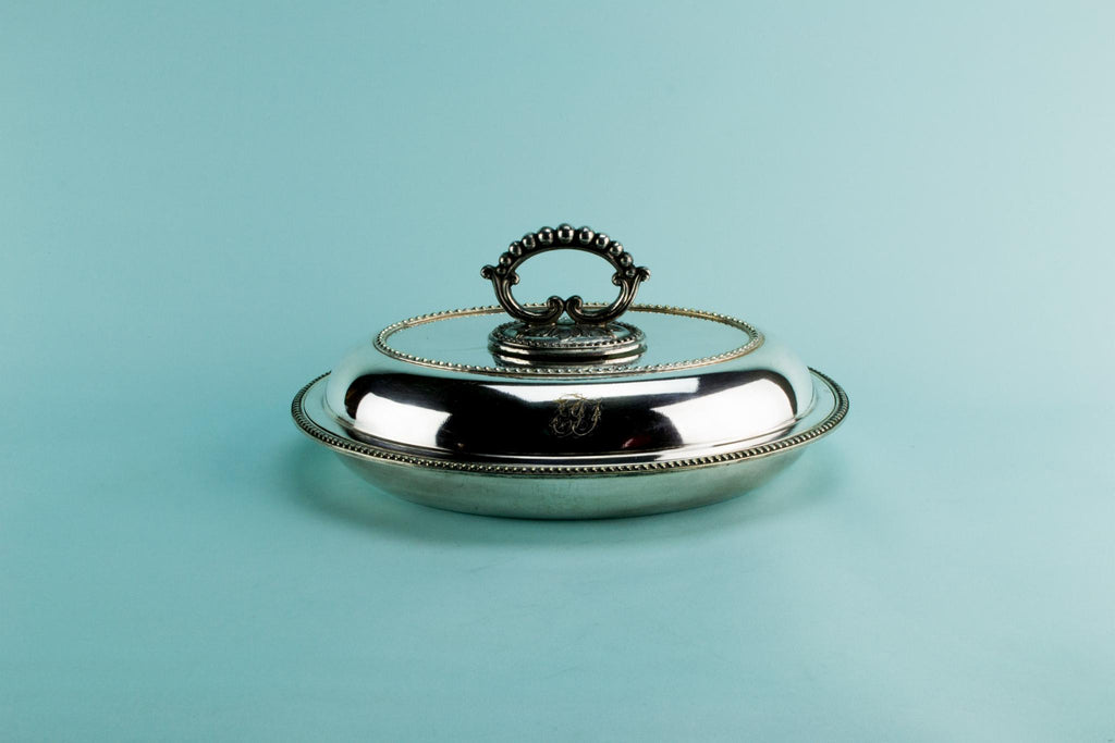 Silver plated hot serving dish, English circa 1900