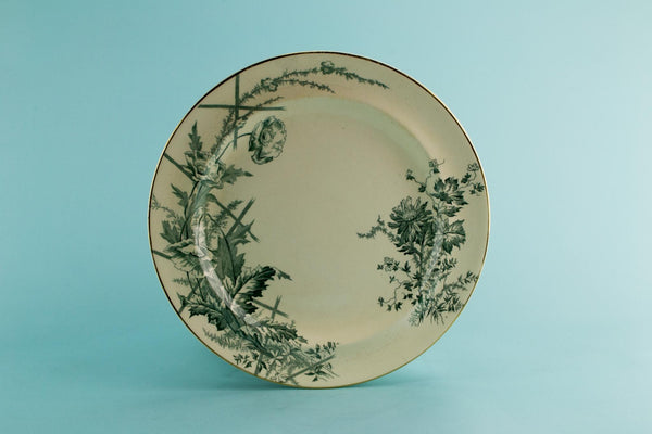 3 green poppy dinner plates, English 1880s
