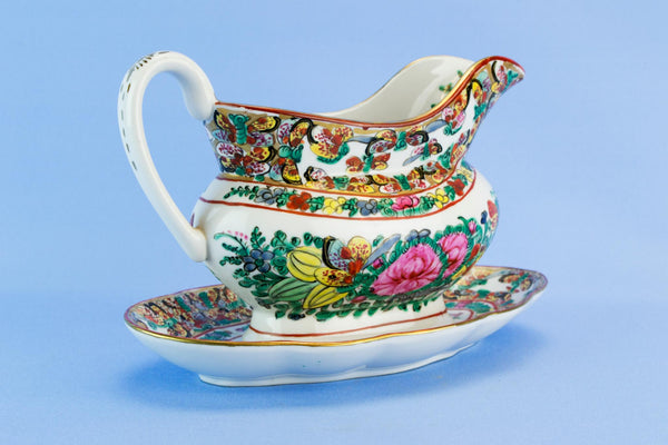 Porcelain gravy boat on platter, Chinese 1970s