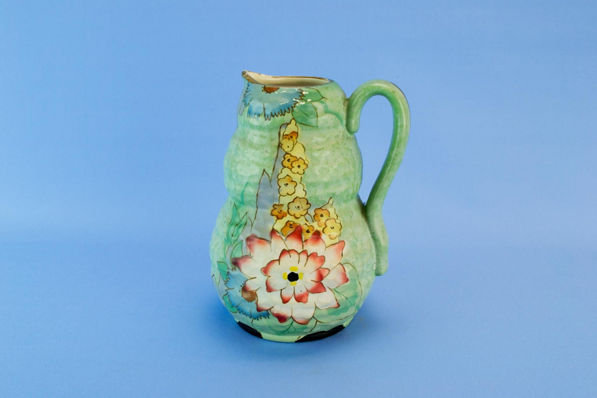 Green Art Deco water jug, English 1930s