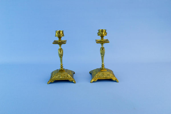 Pair of brass candlesticks, English late 19th century