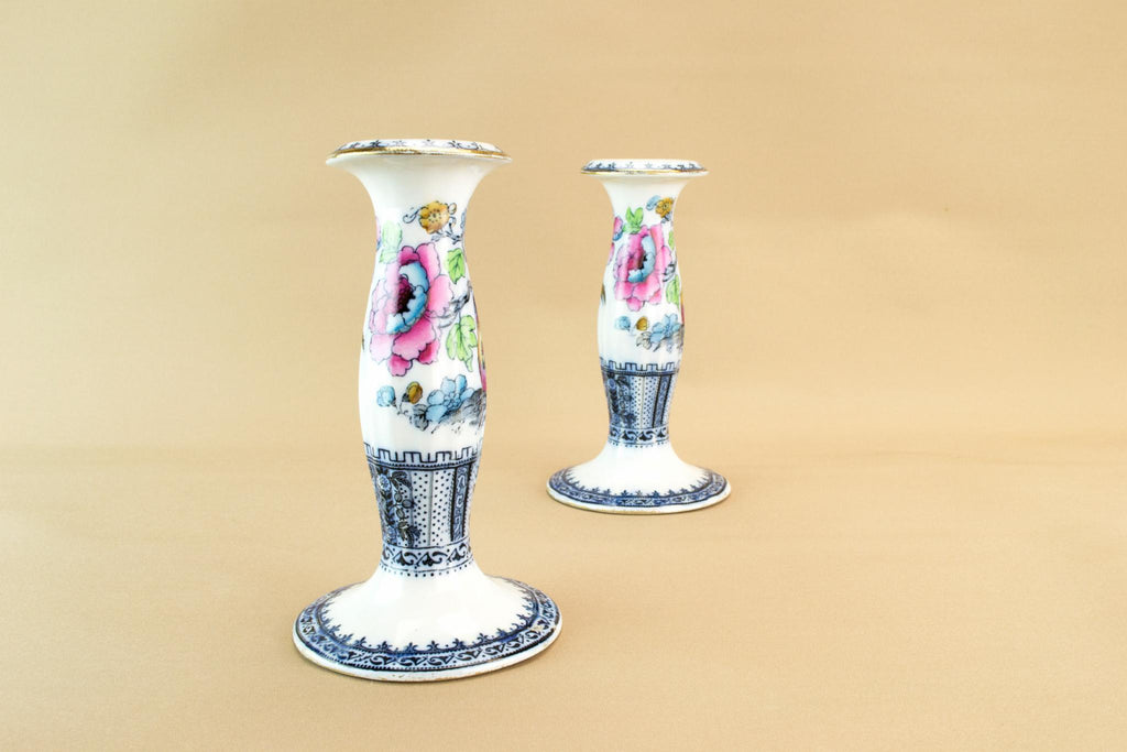 2 Losol Ware candlesticks, English 1920s