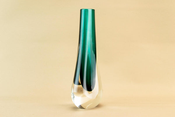 Green Whitefriars glass vase, English 1970s