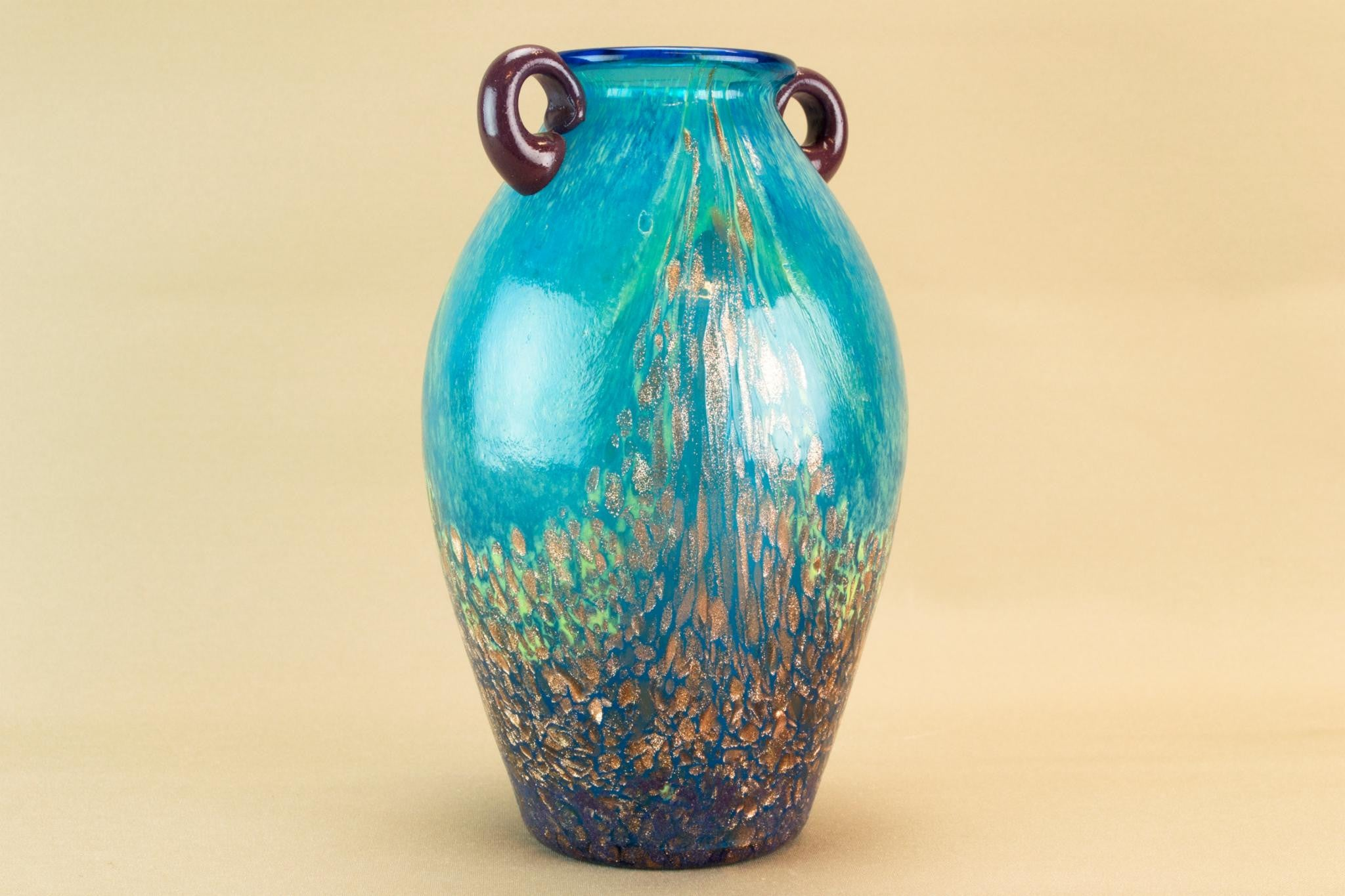 Blue mottled gold glass vase