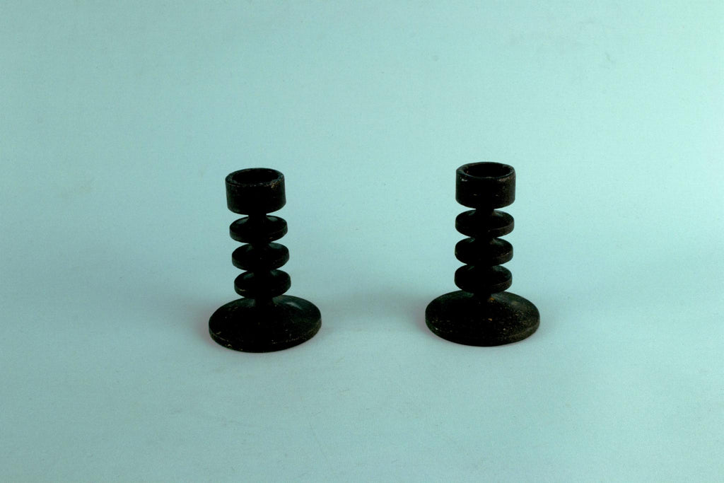 2 Cast Iron Candlesticks by Robert Welch, English 1960s