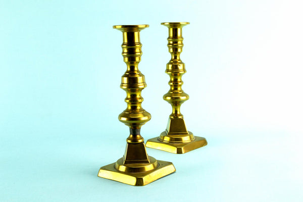 2 brass candlesticks, English late 18th century