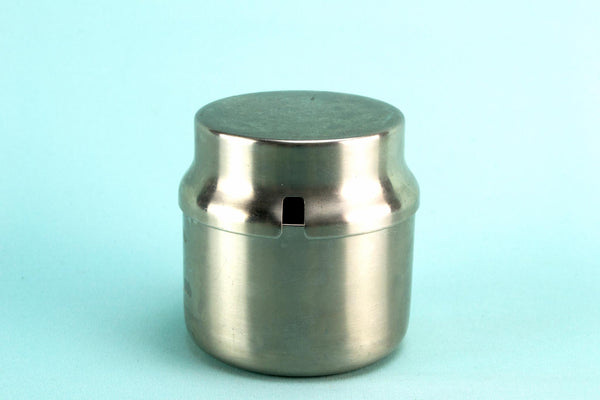Stainless steel condiment pot, English 1960s
