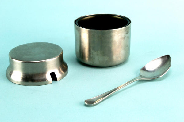 Stainless steel condiment pot and spoon, English 1960s