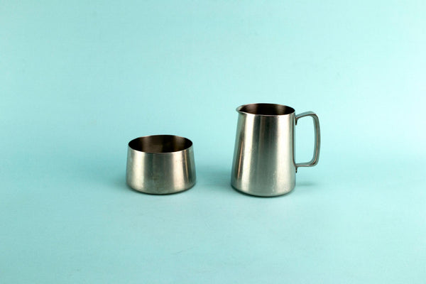 Stainless steel milk and sugar set, English 1960s