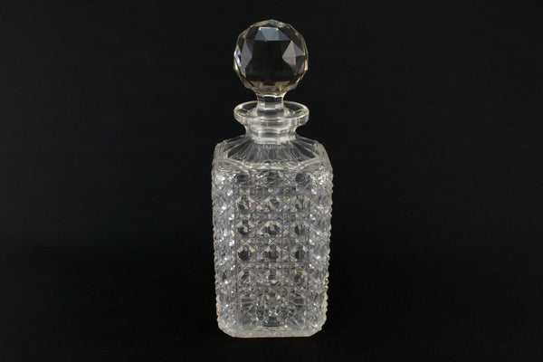 Square Whisky Decanter, English Early 1900s