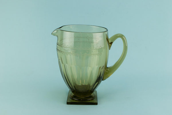 Smoky grey glass Art Deco jug, English 1920s