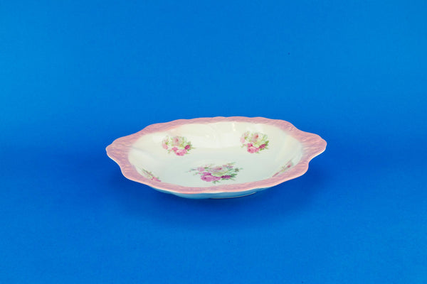 Pink floral serving bowl, English mid 20th century