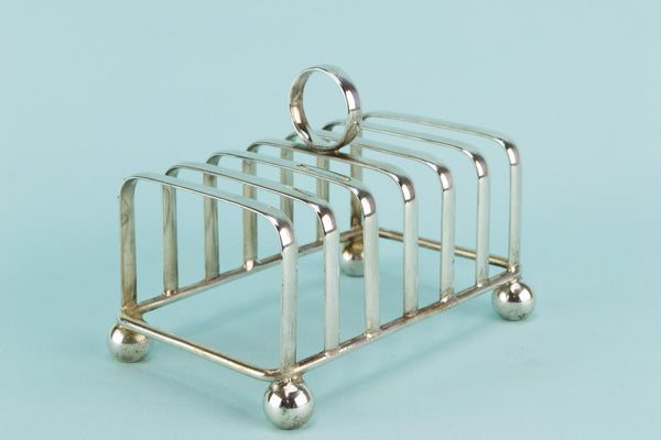 Silver plated Art Deco toast rack, English 1930s