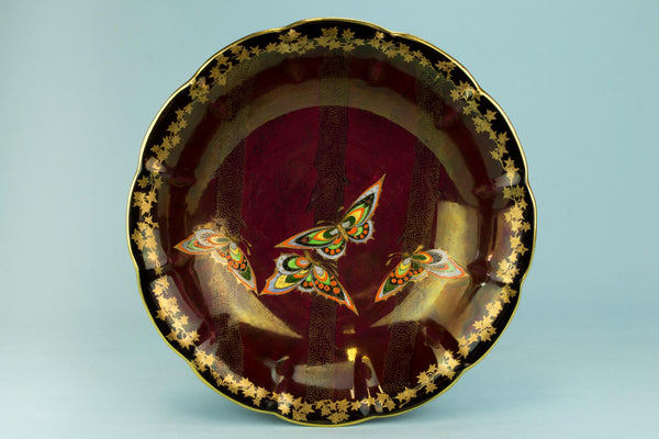 Red and gold Art Deco serving bowl, English 1930s