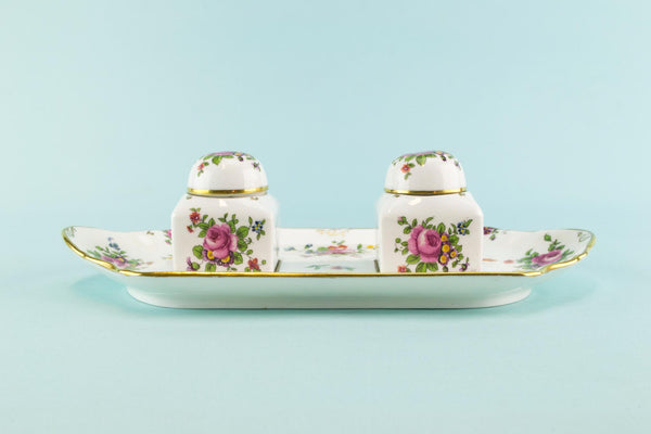 Bone china double inkwell, English 1910s