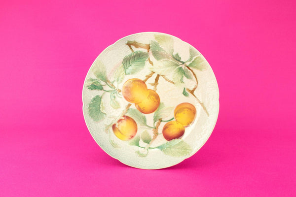 Majolica Plums Dessert plate, French circa 1900