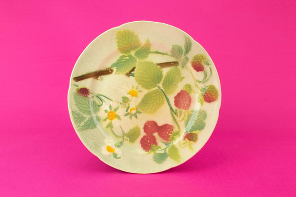 Majolica Raspberries Dessert plate, French circa 1900