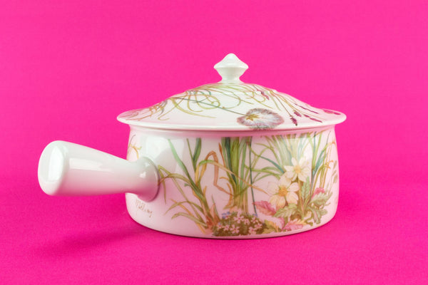 Porcelain casserole with handle, French Pillivuyt