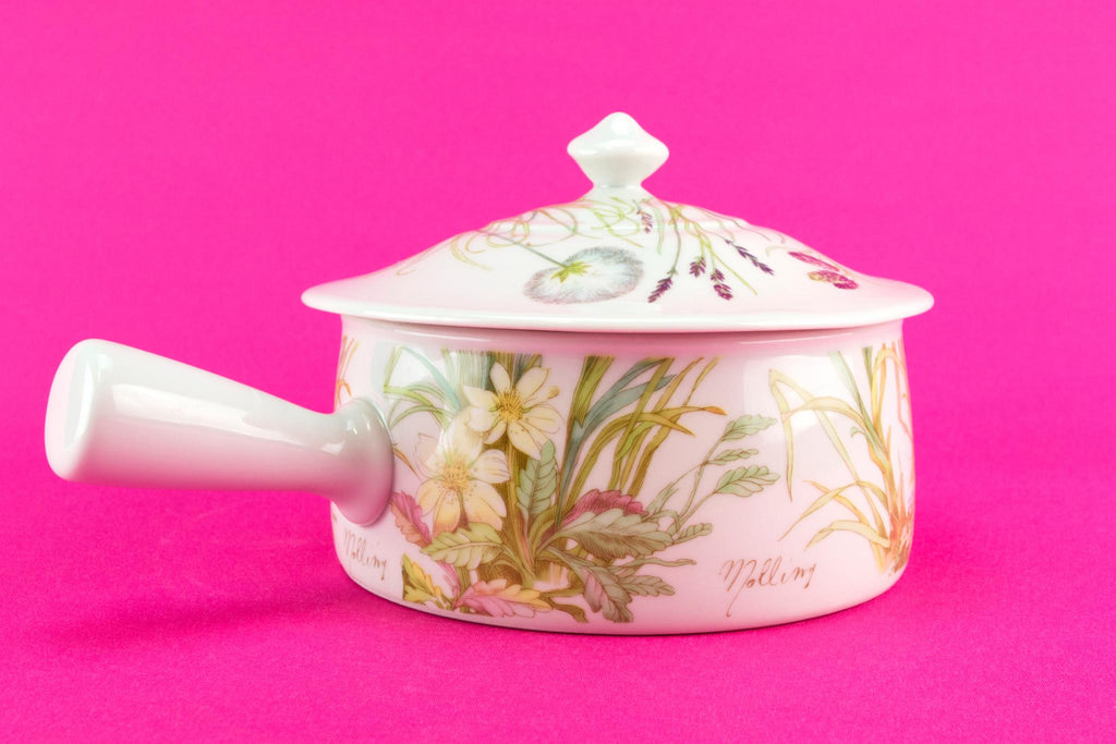 Small porcelain casserole with handle, French Pillivuyt
