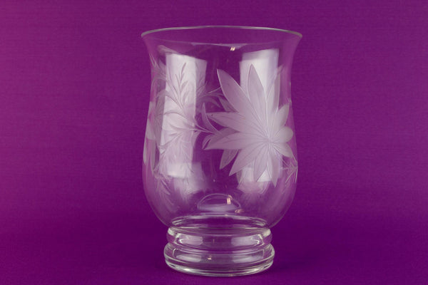 Medium floral decor glass vase 1970s