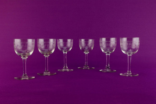 Harlequin set of 6 port glasses, English circa 1910