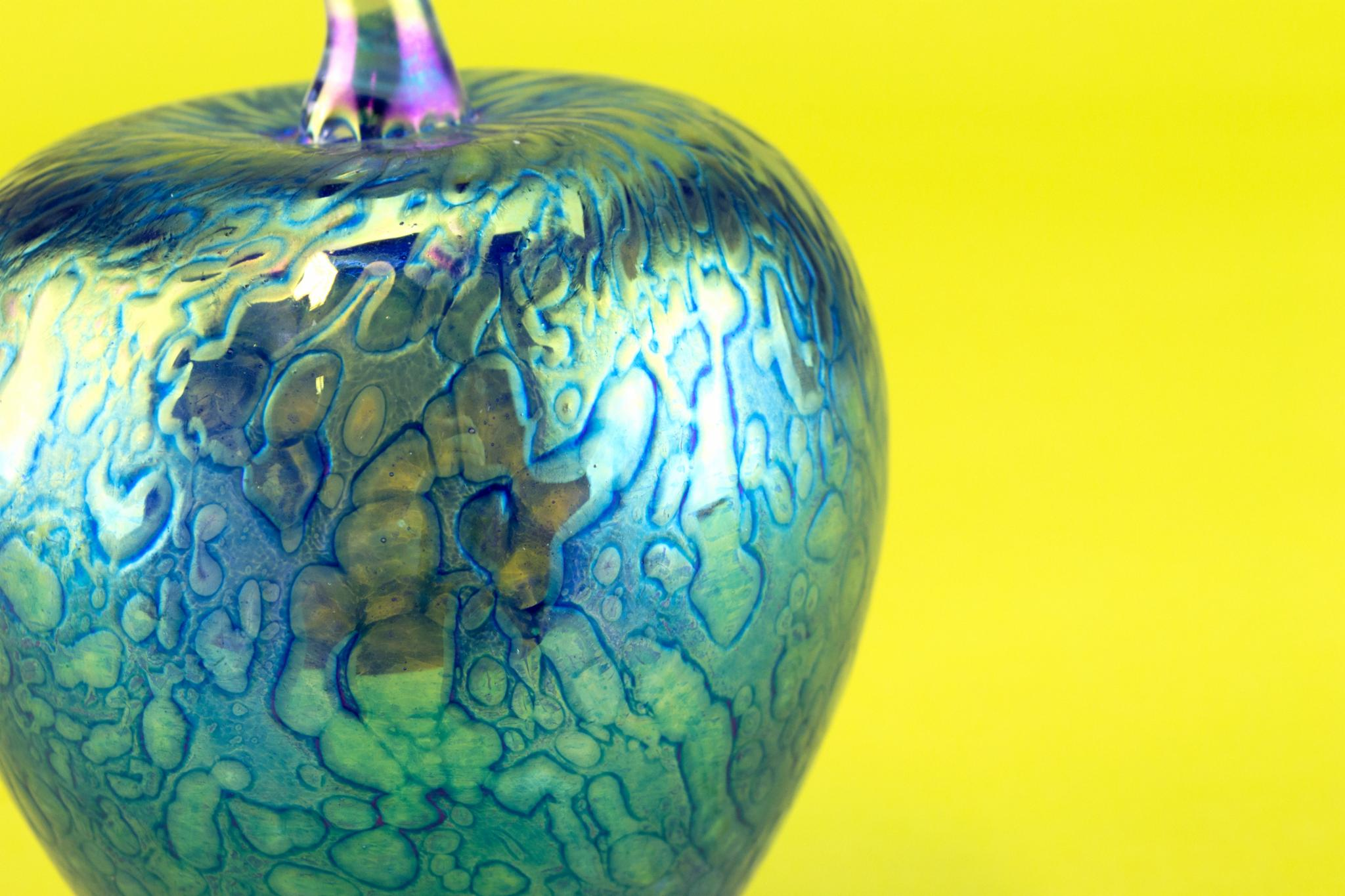 Blue Heron Glass apple paperweight