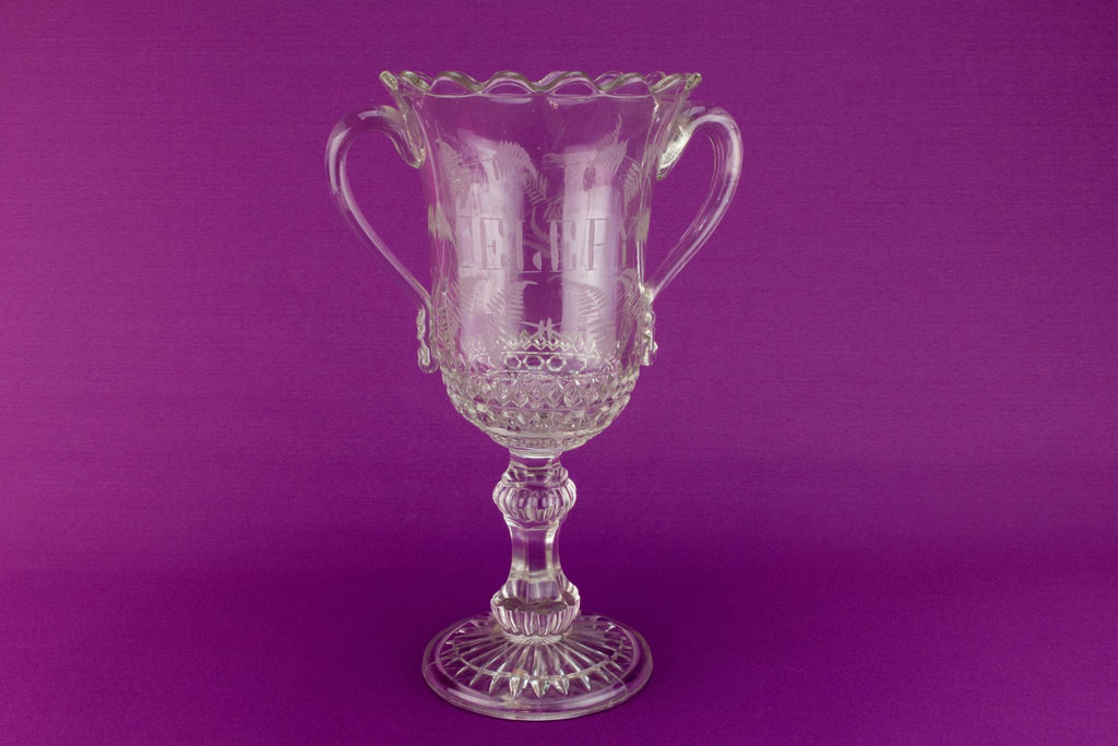 Large glass celery bowl, English late 19th century